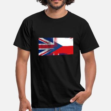Half Czech British Czech Half Czech Republic Half UK Flag - Men's T-Shirt