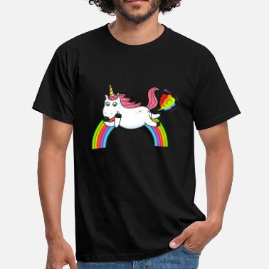 Fart Rainbow Farting unicorn rainbow - Men's T-Shirt