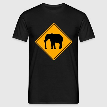 Elephant Road Sign - Männer T-Shirt