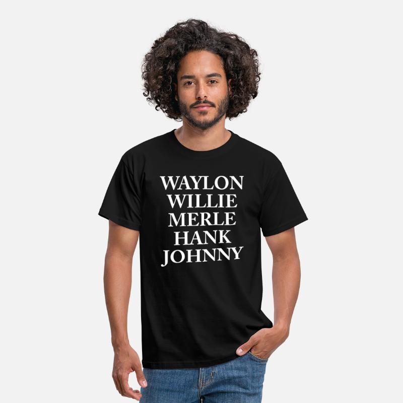 Hank T-Shirts - Waylon Jennings Merle Haggard Willie Nelson Hank  - Men's T-Shirt black