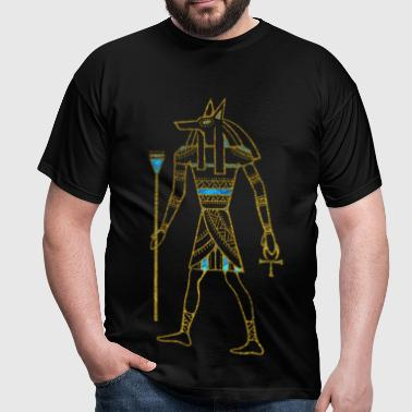 Anubis Egyptian  Gold and blue stained glass - Men's T-Shirt