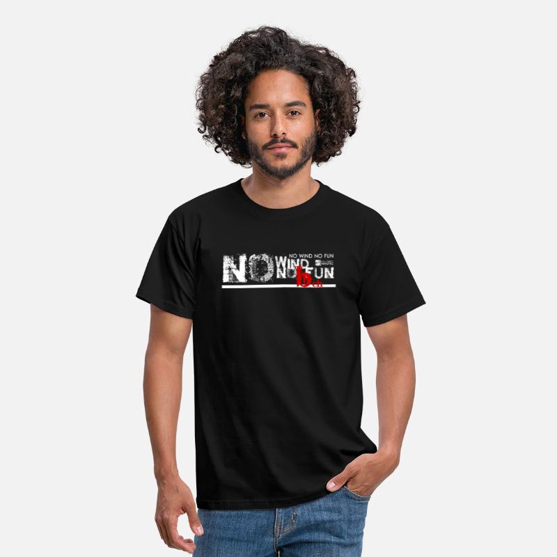 Windsurf Camisetas - No Wind No FUN - Camiseta hombre negro