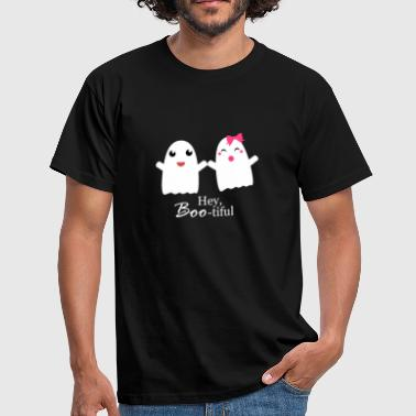 Ghost Couple Boo Halloween ghosts couple gift - Men's T-Shirt