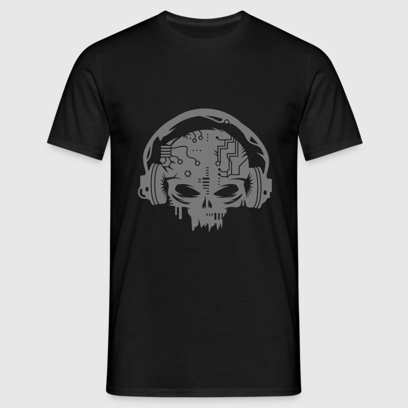 Cyborg Skull with headphones - Men's T-Shirt