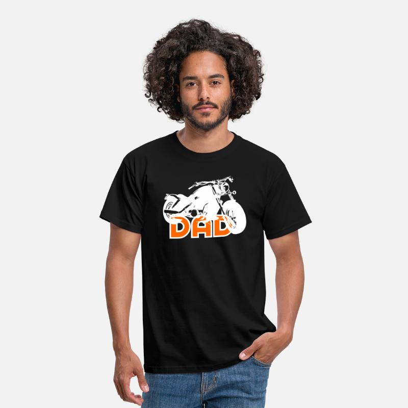Motor T-Shirts - Biker DAD White / Orange Motorcycle - Mannen T-shirt zwart