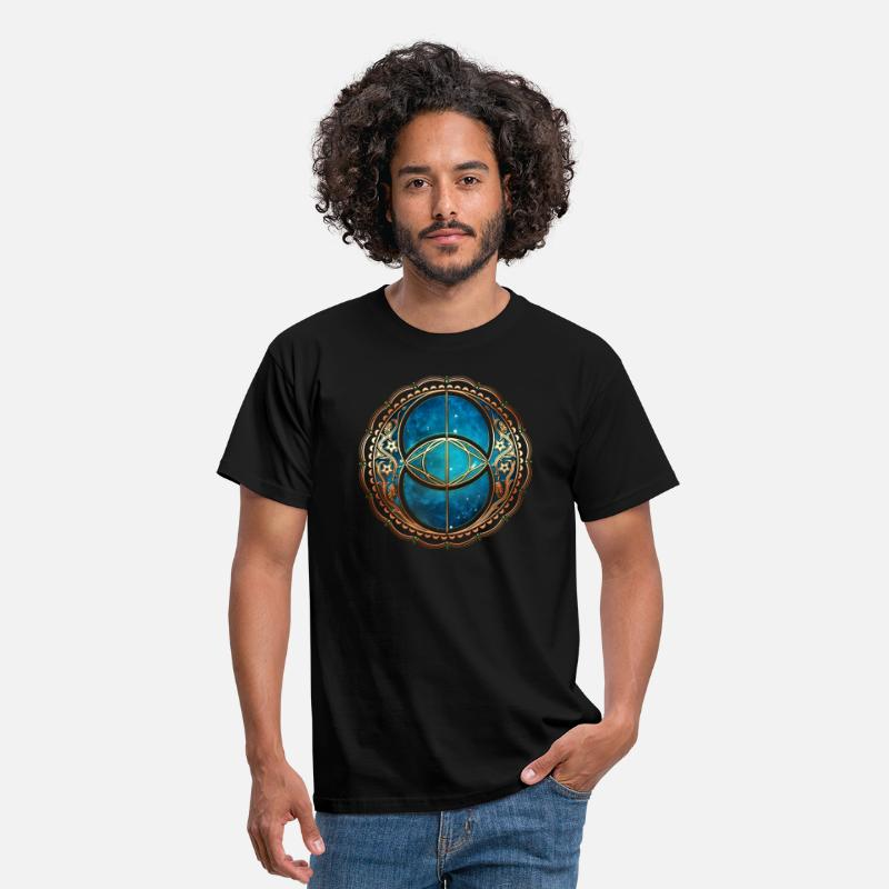 Symbole T-shirts - Vesica Piscis, Chalice Well, Avalon, Galaxy, Space - T-shirt Homme noir