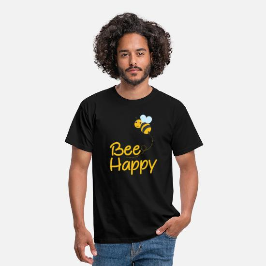 Bee T-Shirts - Bee Happy, Bumble Bee, Bee Lover, Bumble Bee Gift - Men's T-Shirt black
