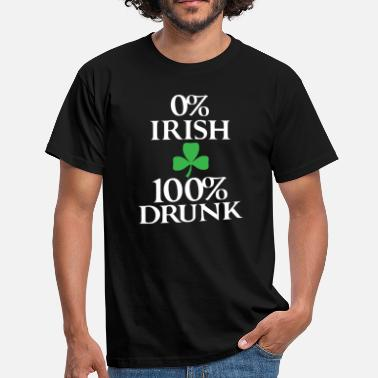 St Patricks Day 0% Irish 100% Drunk, St Patricks Day, klavertje vier - Mannen T-shirt