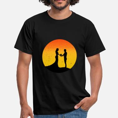Silhouette Stag Night Party Married couple sunset silhouette gift - Men's T-Shirt