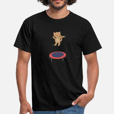 Trampoline Baby cat on trampoline cute animal motif gift - Men's T-Shirt