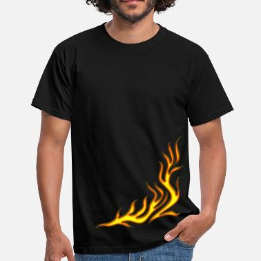 Black Light feu, flamme, Flame / T-shirt, Motiv 2, Fire, digital, yellow, red - T-shirt Homme