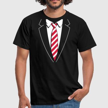Tuxedo Striped Tie - Men's T-Shirt
