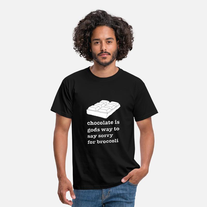 Broccoli T-Shirts - Chocolate Is Gods Way To Say Sorry For Broccoli - Men's T-Shirt black