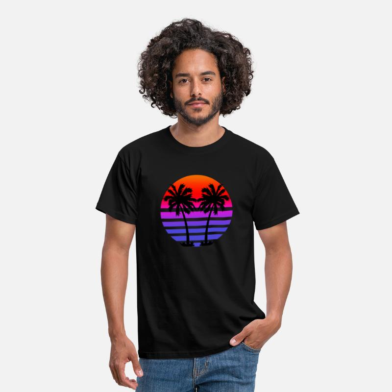Retro T-Shirts - Gradient Palm Trees - Men's T-Shirt black