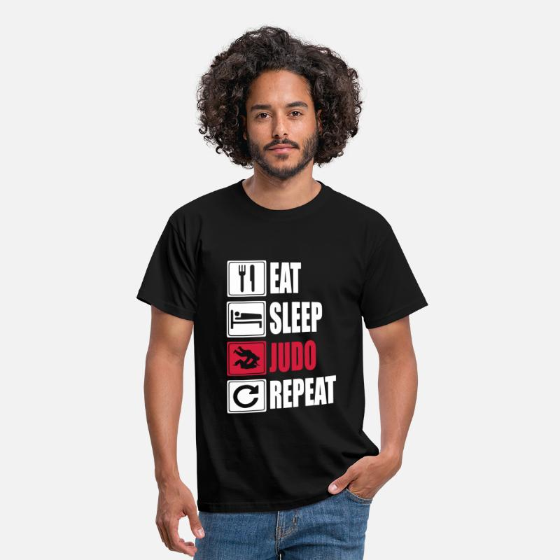 Judo T-Shirts - Eat-Sleep-Judo-Repeat - Mannen T-shirt zwart