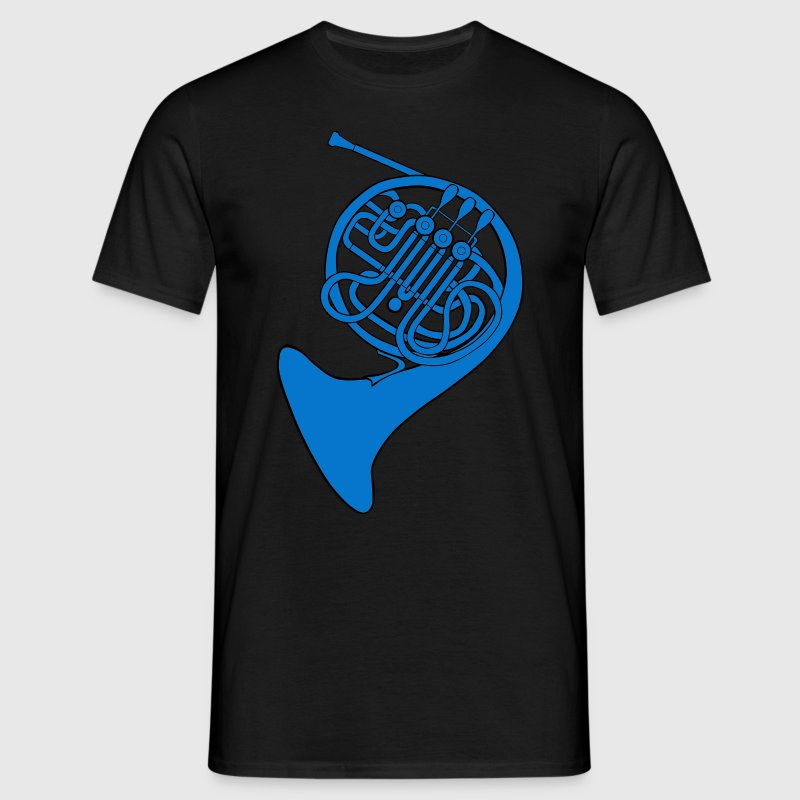 blue french horn - Men's T-Shirt