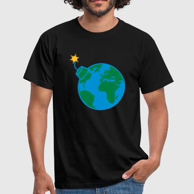 Earth Globe Planet World Round Globe Circle Text - Herre-T-shirt