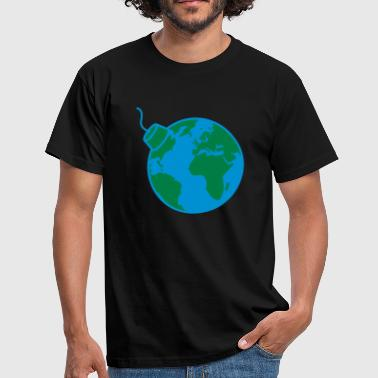 earth planet world round sphere circle text rod boo - Men's T-Shirt