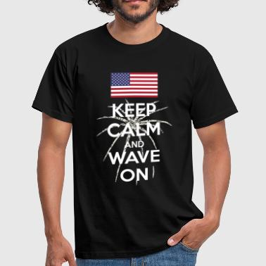 Keep Calm and Wave on (dark) - Men's T-Shirt