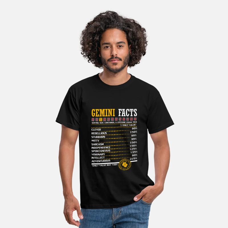 Gemini T-Shirts - Gemini Facts Servings Per Container - Men's T-Shirt black