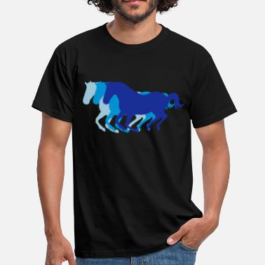 Horse Racing Three horses at a gallop - Horse riding - dressage horses riding horse race - Men's T-Shirt