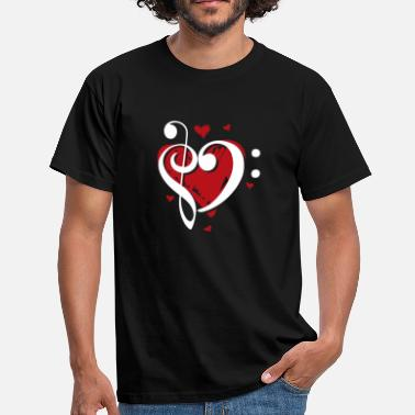 Bass Clef Treble Treble clef bass clef clef heart - Men's T-Shirt