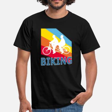 Mountainbiken Retro Vintage Pop Art Tandem Fietsen - Mannen T-shirt