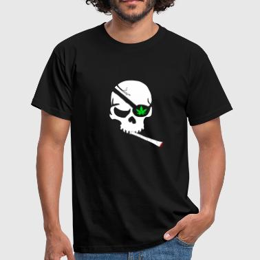 Skull Cannabis Leaf Joint Pothead Gaver - Herre-T-shirt