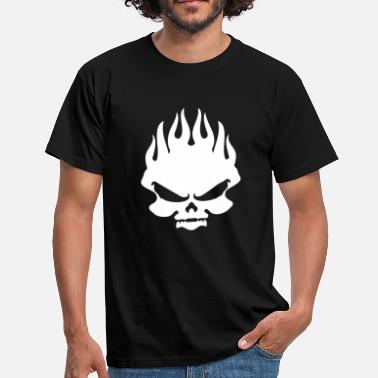 Motorcycle Flaming Skull skull in flames - Men's T-Shirt