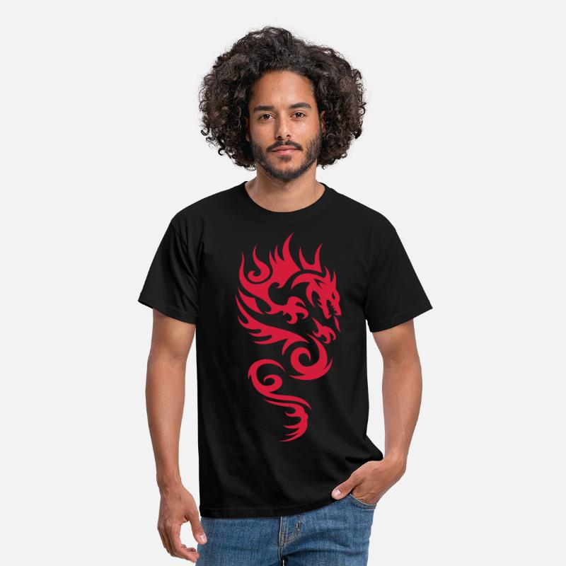 Tribal Camisetas - tribal dragon - Camiseta hombre negro