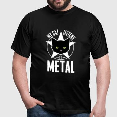 Cat Shirt Cat listens to Metal - Men's T-Shirt