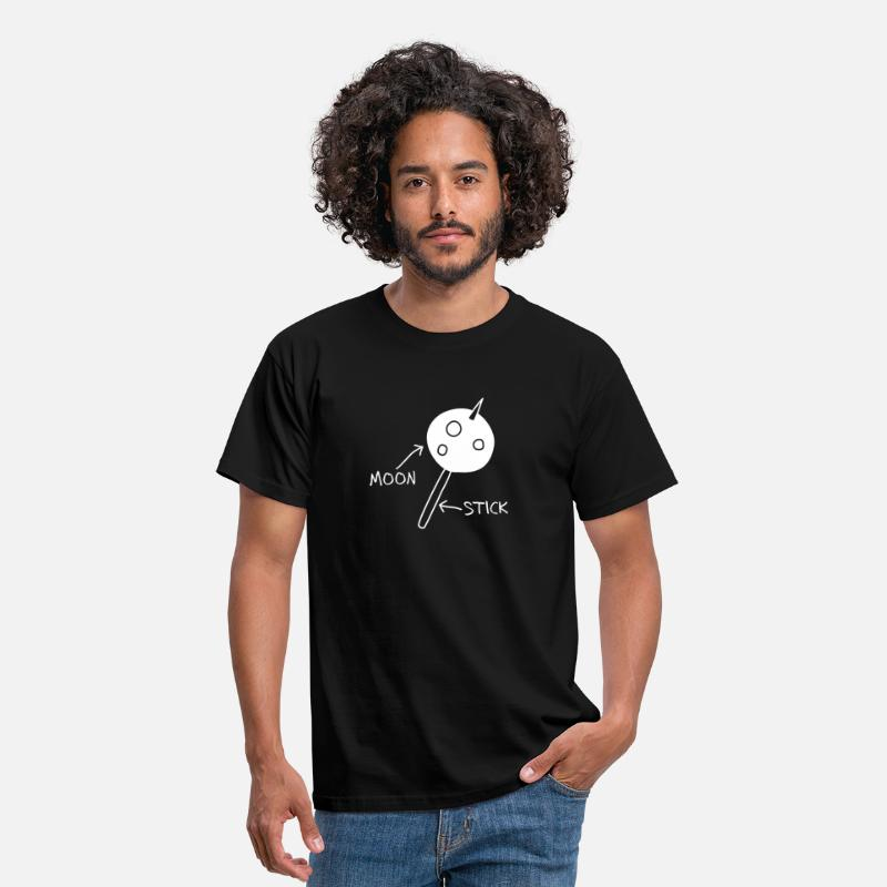 Moon T-Shirts - Moon on a Stick (white on dark background) - Men's T-Shirt black