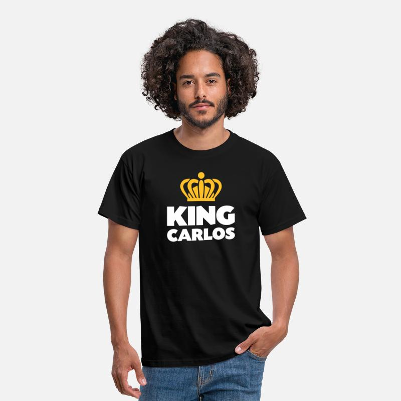 Carlos T-Shirts - King carlos name thing crown - Men's T-Shirt black