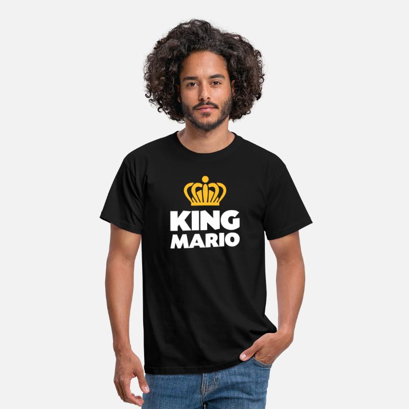T-Shirts - King mario name thing crown - Men's T-Shirt black