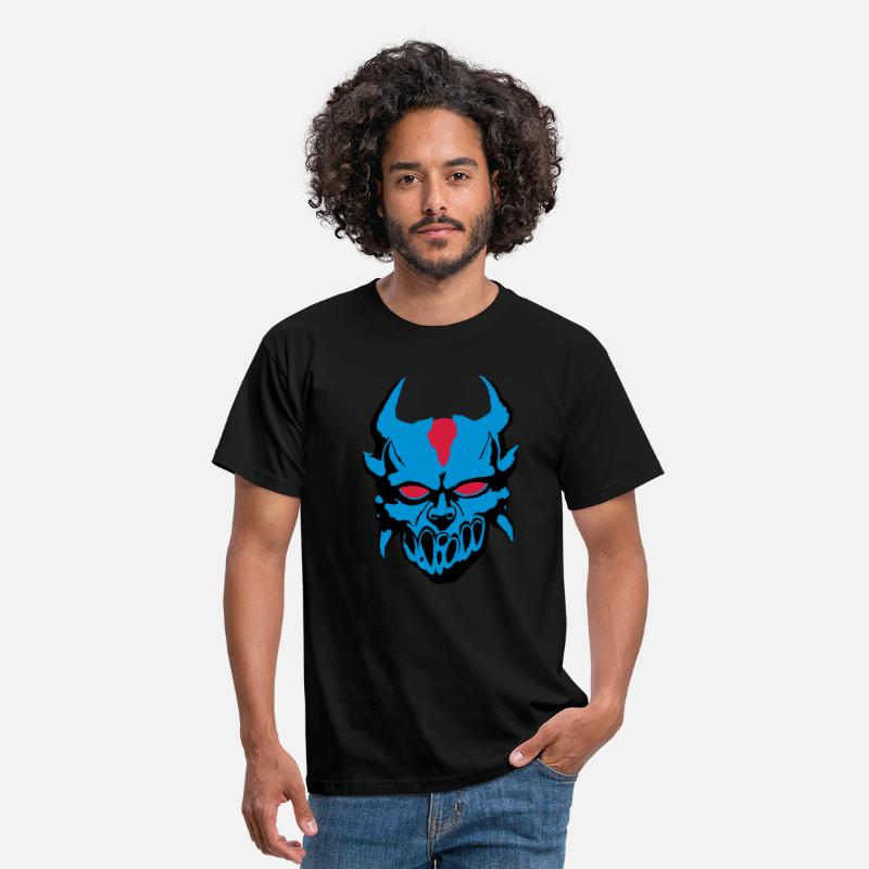 Satanic T-Shirts - Demon with blue eyes - Men's T-Shirt black