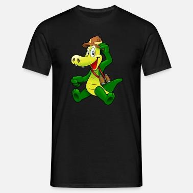 Cocodrilo con el sombrero Camiseta premium hombre  881f47bb92c