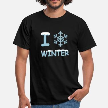 I Love Winter I love winter Schneeflocke - Männer T-Shirt