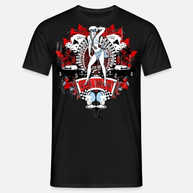 Casino Las Vegas Pin Up Auto Show casino kaartspel helm - Mannen T-shirt