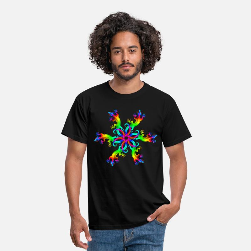Gecko T-Shirts - Gecko, lizard, rainbow, Goa, Trance, Psytrance, - Men's T-Shirt black