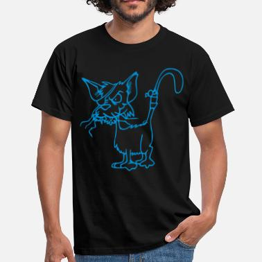 Klap For Øjet Kat med brudte whiskers og klap for øjet - Herre-T-shirt
