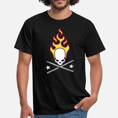 Sticks fire_skull_drumsticks_a_3c - Mannen T-shirt