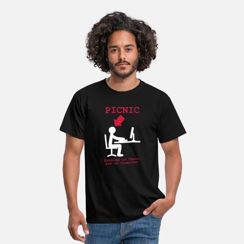 Picnic T-Shirts - PICNIC - Problem in Chair, not in Computer - geek - noob - newbie - admin - Mannen T-shirt zwart