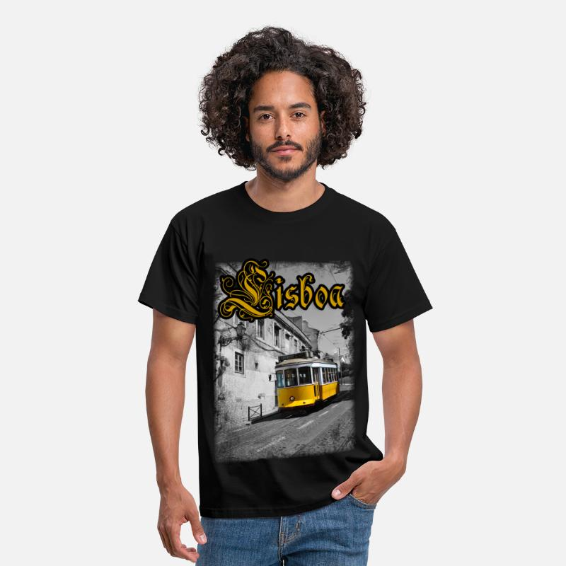 Tram T-Shirts - Lisboa Tram - Men's T-Shirt black