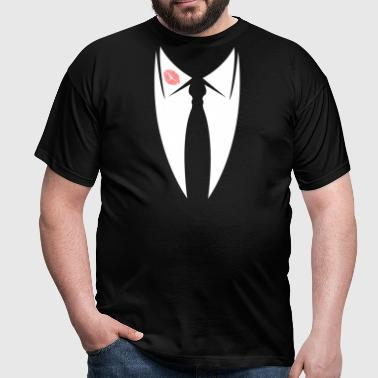 Rosebud mouth collar with tie from suit  - Men's T-Shirt