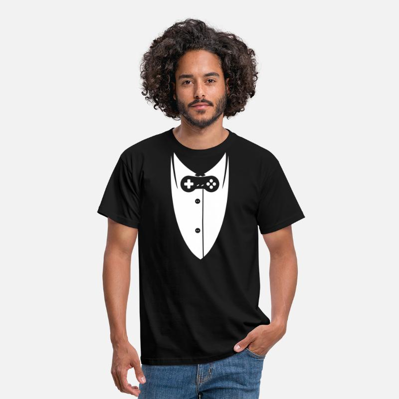 Suit Gamer T-Shirts - Gamer suit with Controller - Men's T-Shirt black