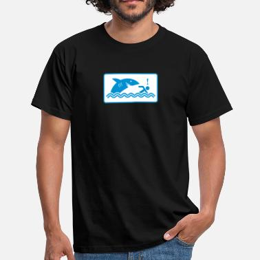 Death-trap Warning: Beware Of Sharks - Men's T-Shirt