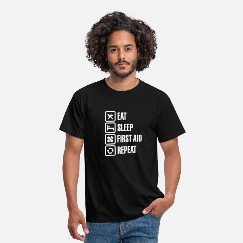 Accident T-Shirts - Eat Sleep First Aid Repeat - Men's T-Shirt black