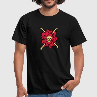 Tattoo Romantisch rose skull, tattoo style - Männer T-Shirt