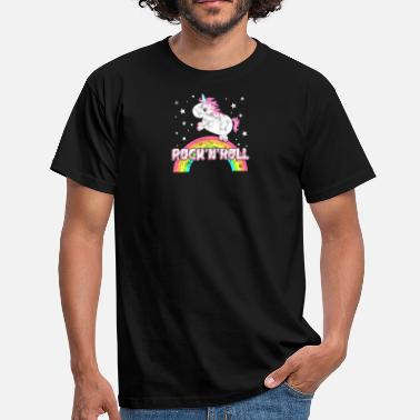 Ironic Rock Music Cool ironic music unicorn - Men's T-Shirt