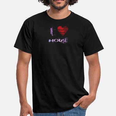 Techno House I love minimal techno house gabberraver festival - Men's T-Shirt